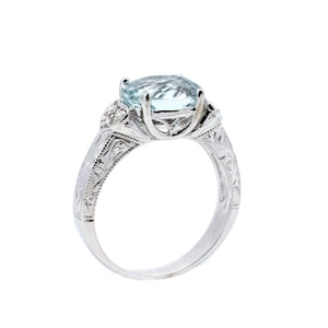 Vintage Style Aquamarine Ring - Johnny Jewelry