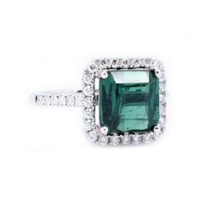 Mint Green Tourmaline & Diamond Ring - Johnny Jewelry