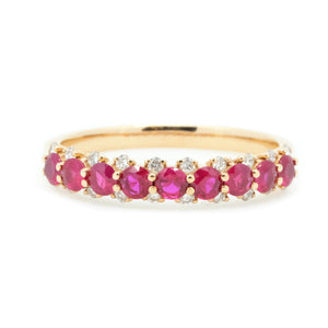 Stackable 4mm Ruby & Diamond Anniversary Band - Johnny Jewelry