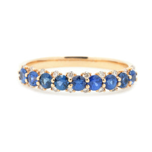 Stackable 4mm Sapphire & Diamond Anniversary Band - Johnny Jewelry