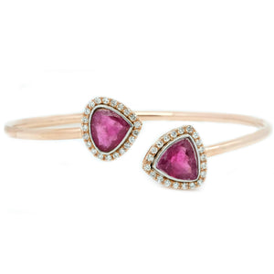 Trillion Tourmaline Twist Flex Bangle - Johnny Jewelry