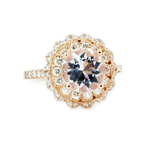 Lacy Morganite & Diamond Halo Ring - Johnny Jewelry