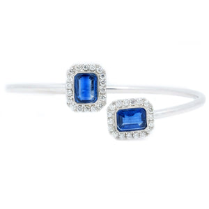 Emerald Cut Kyanite Twist Flex Bangle - Johnny Jewelry