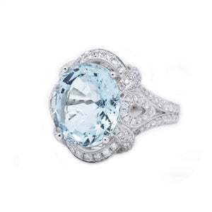Vintage Style Filigree Aquamarine & Diamond Ring - Johnny Jewelry