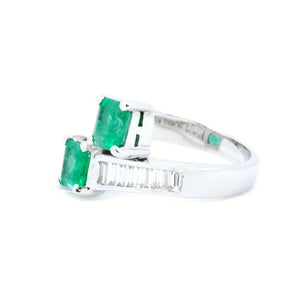 Emerald Cut Emerald & Baguette Diamond Bypass Ring