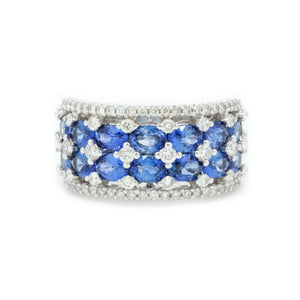 Crown Double Row Sapphire & Diamond Ring