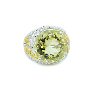 Two Tone Swirl Lemon Quartz & Yellow Sapphire, Diamond Ring