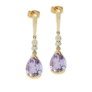 Semi Bezel Set Pink Amethyst & Diamond Earrings