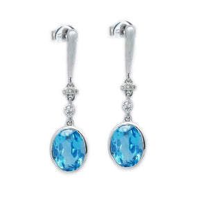 Bezel Set Oval Blue Topaz & Diamond Earrings