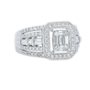 Art Deco Mosaic Emerald Cut Diamond Ring