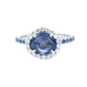 Rose Cut Pastel Blue Sapphire & Diamond Ring