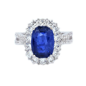 Diva Cushion Sapphire & Diamond Halo Ring