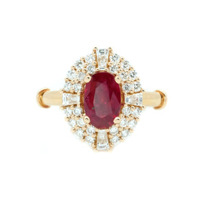 Art Deco Halo Ruby & Diamond Ring