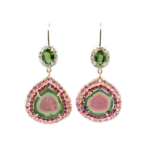 Watermelon Tourmaline Slice & Green Tourmaline Earrings