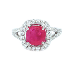 Cushion Shape Ruby & Diamond Halo Ring