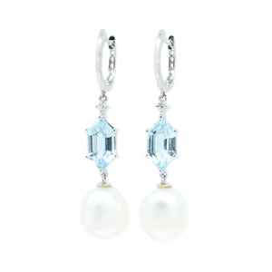 Geometric Blue Topaz & FWP Earrings