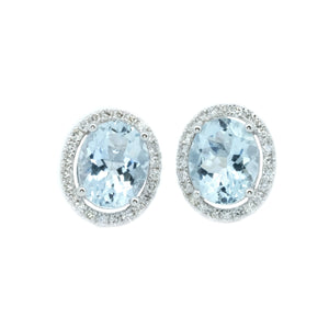 Oval Aquamarine & Diamond Halo Earrings