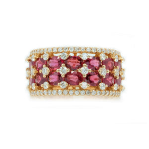 Crown Double Row Ruby & Diamond Ring