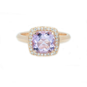 Cushion Pink Amethyst & Diamond Halo Ring
