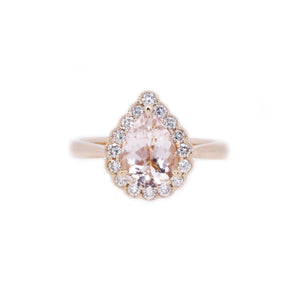 Gatsby Teardrop Morganite & Diamond Ring
