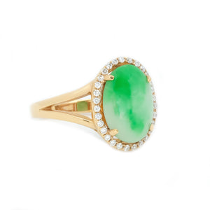 Classic Jade & Diamond Halo Ring