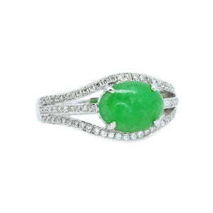 Eyelet Jade & Pave Diamond Ring