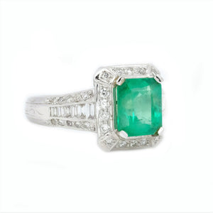 Art Deco Emerald & Pave Diamond Ring