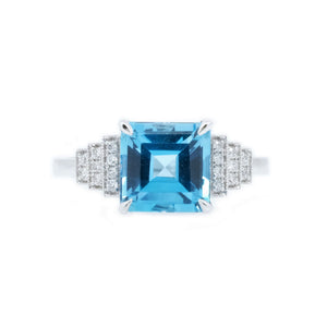 Art Deco Blue Topaz & Diamond Ring