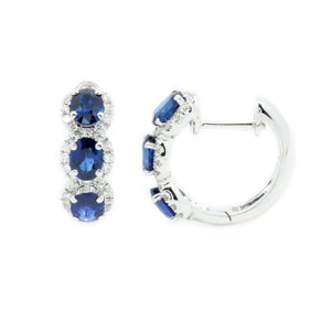 Trio Sapphire & Diamond Huggie Hoop Earrings