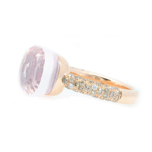 Checkered Pink Amethyst & Champagne Diamond Ring