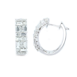 Art Deco Baguette & Round Diamond Hoops