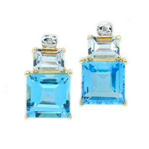 Ocean Aquamarine & Blue Topaz Earrings