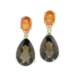 Raindrop Spessartite Garnet & Smoky Topaz Earrings