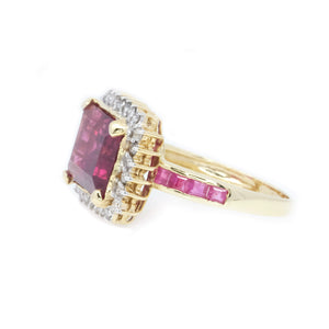 Emerald Cut Rubellite, Ruby & Diamond Ring