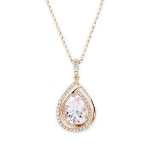 Teardrop Pink Morganite & Diamond Pendant