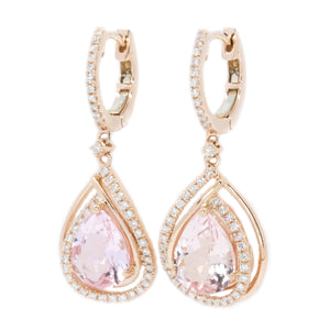 Teardrop Pink Morganite & Diamond Earrings