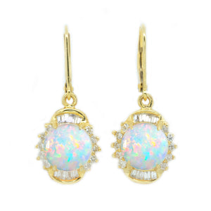 White Opal & Diamond Drop Earrings