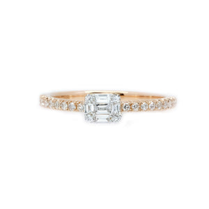 Stackable Baguette & Round Diamond Ring
