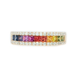 Princess Cut Rainbow Sapphire & Diamond Band