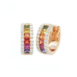 Princess Cut Rainbow Sapphire & Diamond Huggies