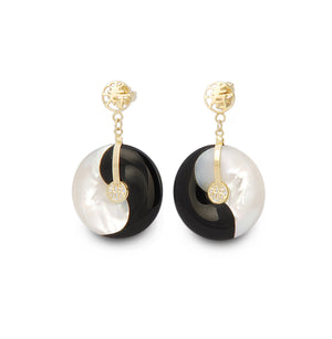 Mother of Pearl and Onyx Yin Yang Earrings