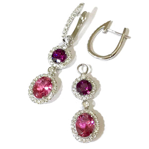 Diamond Huggies with Tourmaline Drop Earrings
