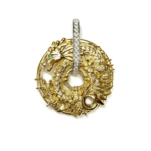 Dragon Pave Diamond Bar Pendant