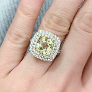 Yellow Kunzite & Diamond Cocktail Ring