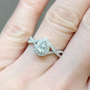 Pear Diamond Halo Ring With Infinity Band