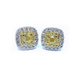 Cushion Fancy Yellow Diamond Earrings - Johnny Jewelry