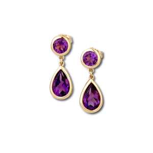 Droplet Amethyst Drop Earrings