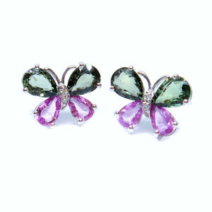 Pink & Green Sapphire Butterfly Earrings - Johnny Jewelry