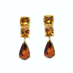 Trilogy Brandy Topaz and Citrine Earrings - Johnny Jewelry