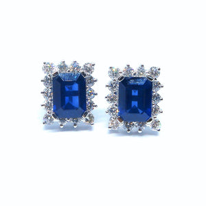 Classic Emerald Cut Sapphire & Diamond Earrings - Johnny Jewelry